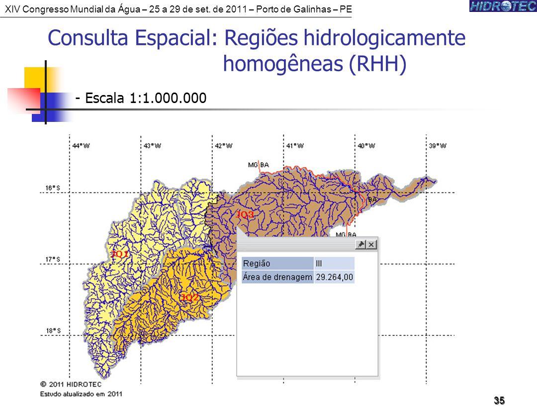 35 Consulta Espacial: Regiões hidrologicamente homogêneas (RHH) - Escala 1:1.000.000 XIV Congresso Mundial da Água – 25 a 29 de set.
