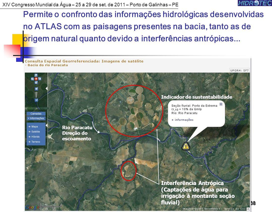 38 Permite o confronto das informações hidrológicas desenvolvidas no ATLAS com as paisagens presentes na bacia, tanto as de origem natural quanto devido a interferências antrópicas...