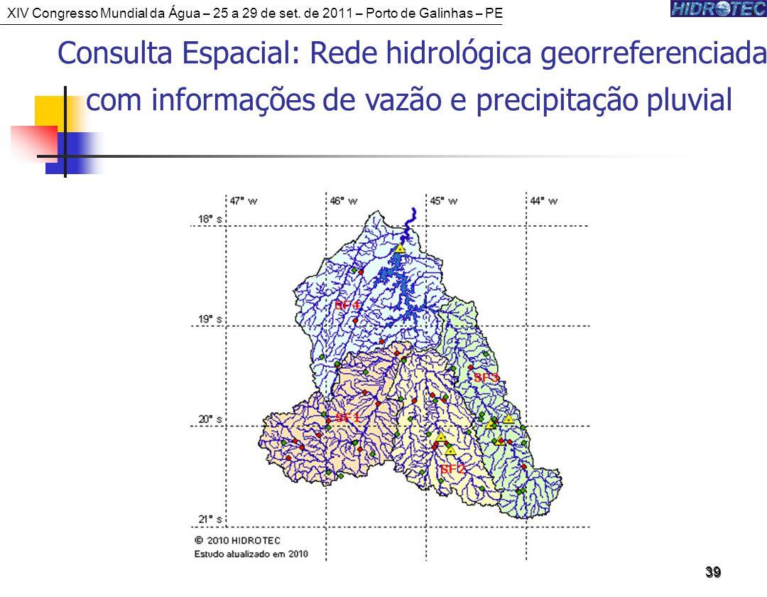 39 Consulta Espacial: Rede hidrológica georreferenciada com informações de vazão e precipitação pluvial XIV Congresso Mundial da Água – 25 a 29 de set.