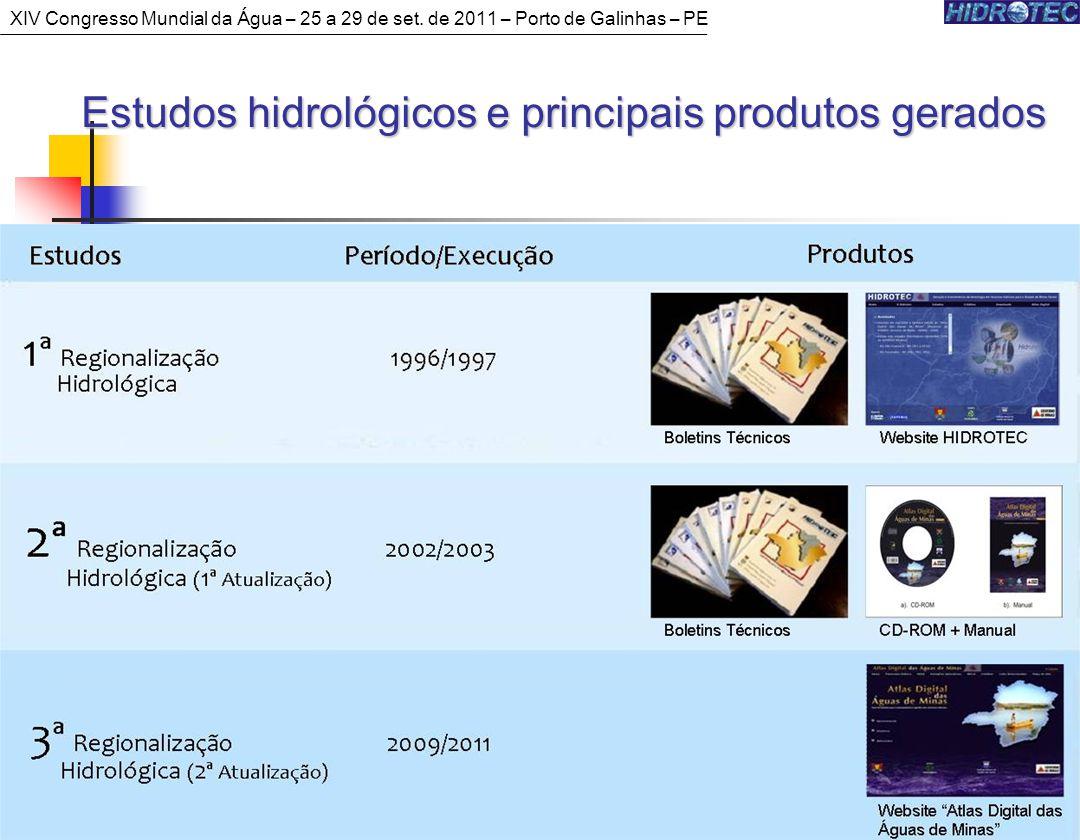 4 Estudos hidrológicos e principais produtos gerados XIV Congresso Mundial da Água – 25 a 29 de set.