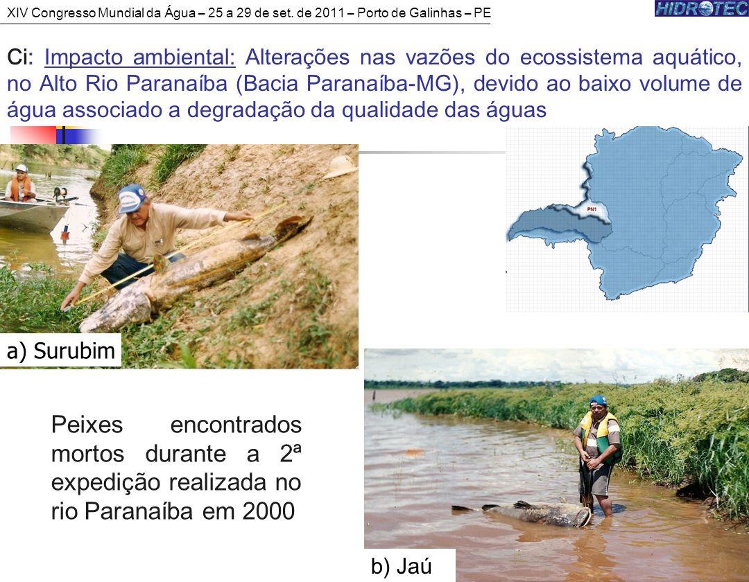 Peixes encontrados mortos durante a 2ª expedição realizada no rio Paranaíba em 2000 b) Jaú a) Surubim Ci: Impacto ambiental: Alterações nas vazões do ecossistema aquático, no Alto Rio Paranaíba (Bacia Paranaíba-MG), devido ao baixo volume de água associado a degradação da qualidade das águas XIV Congresso Mundial da Água – 25 a 29 de set.