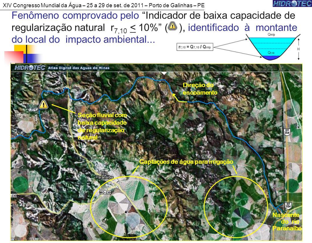 46 Fenômeno comprovado pelo Indicador de baixa capacidade de regularização natural r 7,10 < 10% ( ), identificado à montante do local do impacto ambiental...