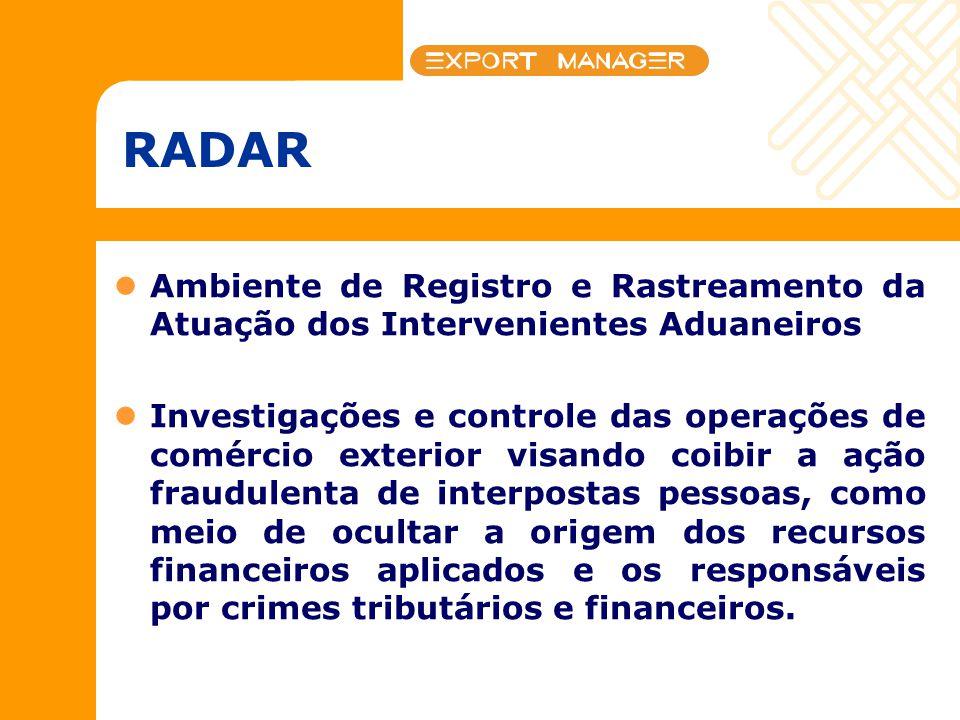 RADAR Ambiente de Registro e Rastreamento da Atuação dos Intervenientes Aduaneiros Investigações e controle das operações de comércio exterior visando