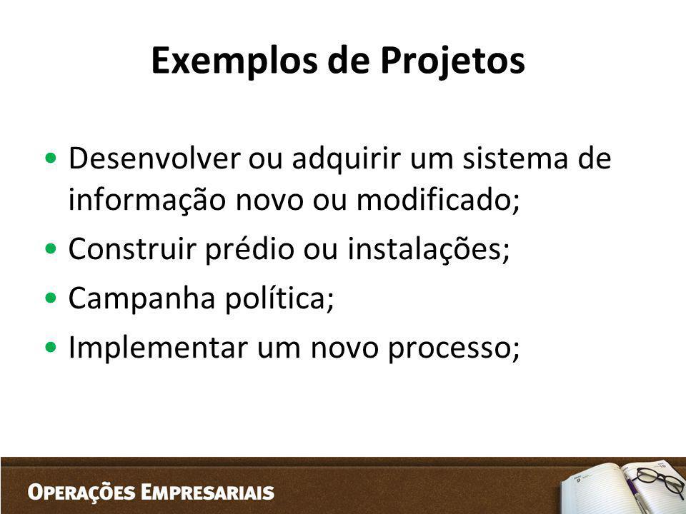 Exemplos de Projetos Desenvolver ou adquirir um sistema de informação novo ou modificado; Construir prédio ou instalações; Campanha política; Implemen