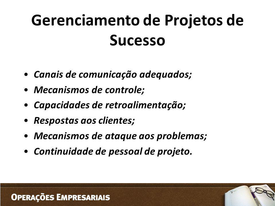 Gerenciamento de Projetos de Sucesso Canais de comunicação adequados; Mecanismos de controle; Capacidades de retroalimentação; Respostas aos clientes;