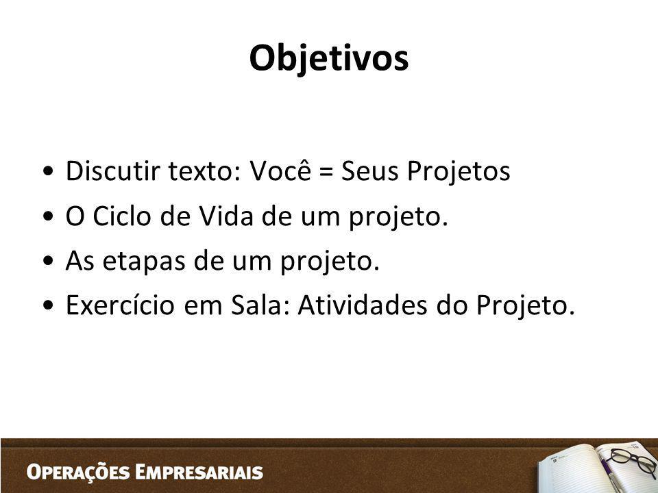 Objetivos Discutir texto: Você = Seus Projetos O Ciclo de Vida de um projeto. As etapas de um projeto. Exercício em Sala: Atividades do Projeto.