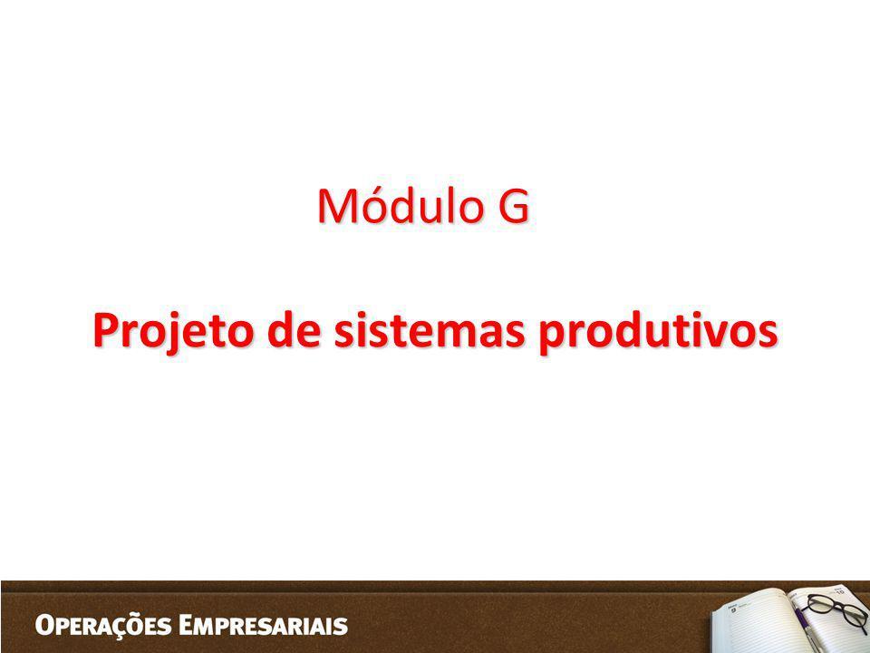 Módulo G Projeto de sistemas produtivos