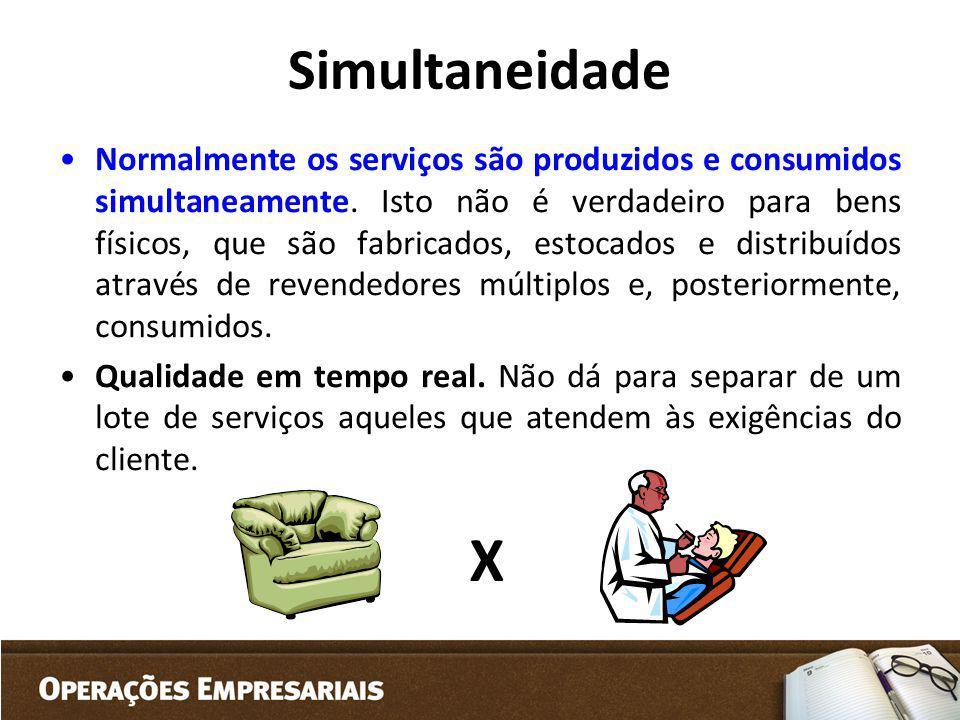 Simultaneidade Normalmente os serviços são produzidos e consumidos simultaneamente. Isto não é verdadeiro para bens físicos, que são fabricados, estoc