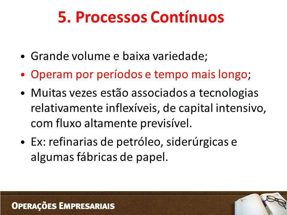 5. Processos Contínuos Grande volume e baixa variedade; Operam por períodos e tempo mais longo; Muitas vezes estão associados a tecnologias relativame