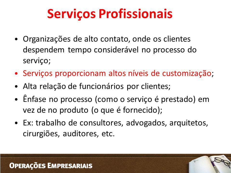 Serviços Profissionais Organizações de alto contato, onde os clientes despendem tempo considerável no processo do serviço; Serviços proporcionam altos