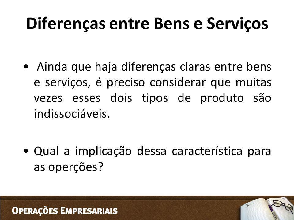 Diferenças entre Bens e Serviços Ainda que haja diferenças claras entre bens e serviços, é preciso considerar que muitas vezes esses dois tipos de pro