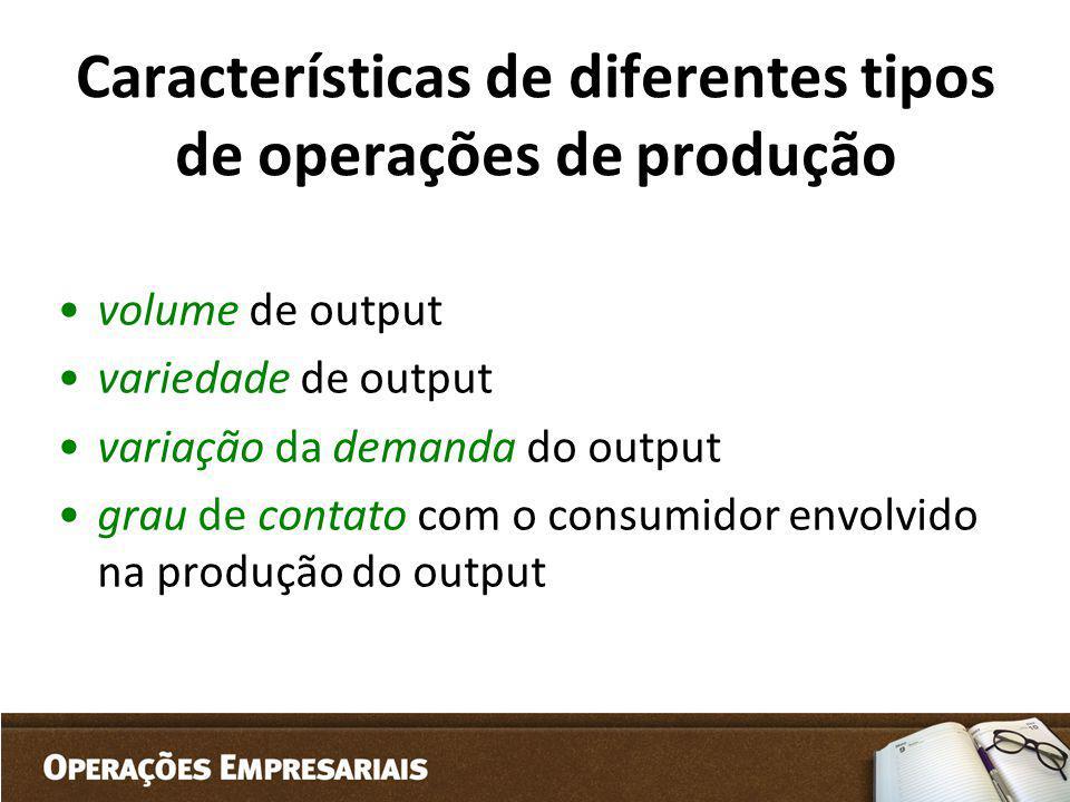 Características de diferentes tipos de operações de produção volume de output variedade de output variação da demanda do output grau de contato com o