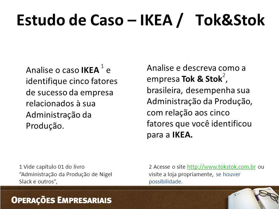 Estudo de Caso – IKEA / Tok&Stok Analise o caso IKEA 1 e identifique cinco fatores de sucesso da empresa relacionados à sua Administração da Produção.