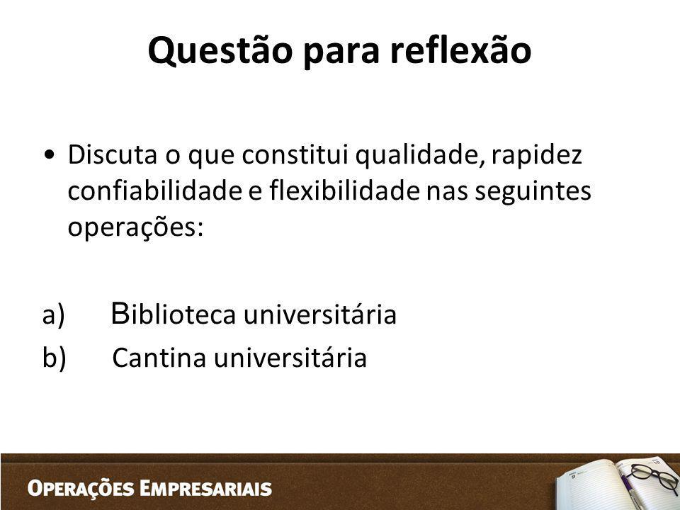 Questão para reflexão Discuta o que constitui qualidade, rapidez confiabilidade e flexibilidade nas seguintes operações: a) B iblioteca universitária