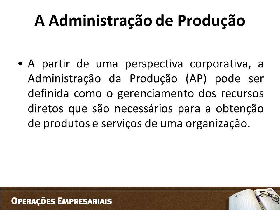 A Administração de Produção A partir de uma perspectiva corporativa, a Administração da Produção (AP) pode ser definida como o gerenciamento dos recur