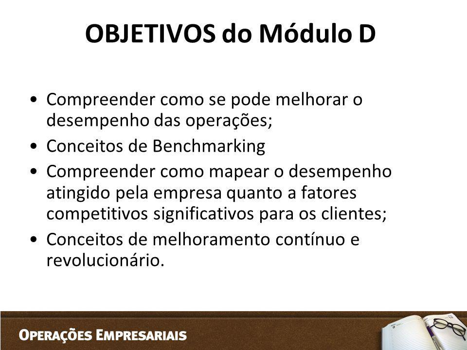 OBJETIVOS do Módulo D Compreender como se pode melhorar o desempenho das operações; Conceitos de Benchmarking Compreender como mapear o desempenho ati