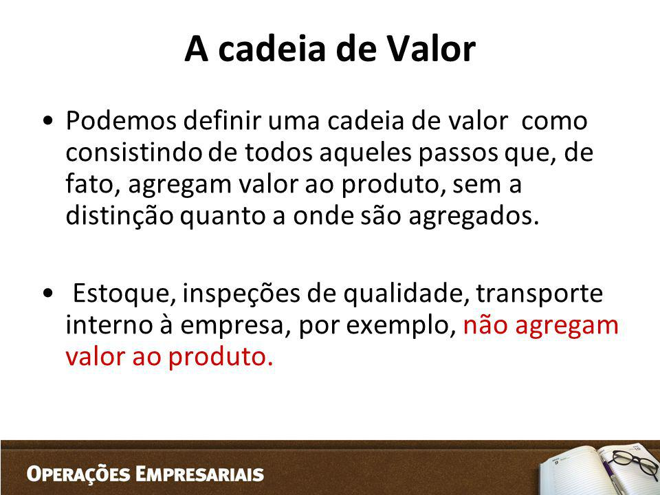 A cadeia de Valor Podemos definir uma cadeia de valor como consistindo de todos aqueles passos que, de fato, agregam valor ao produto, sem a distinção