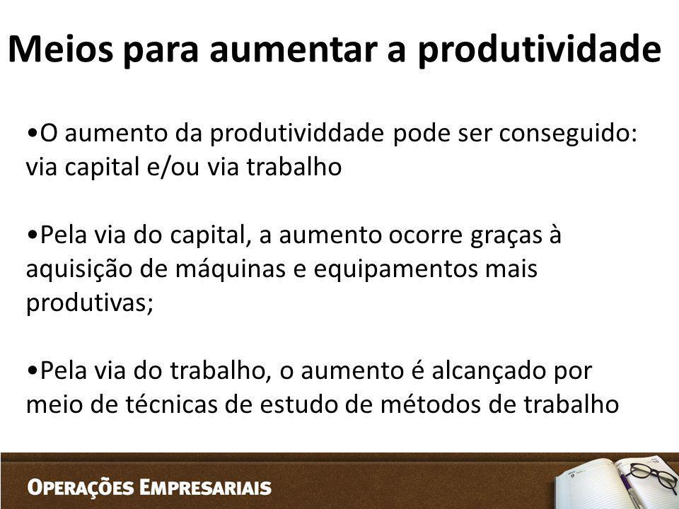 O aumento da produtividdade pode ser conseguido: via capital e/ou via trabalho Pela via do capital, a aumento ocorre graças à aquisição de máquinas e