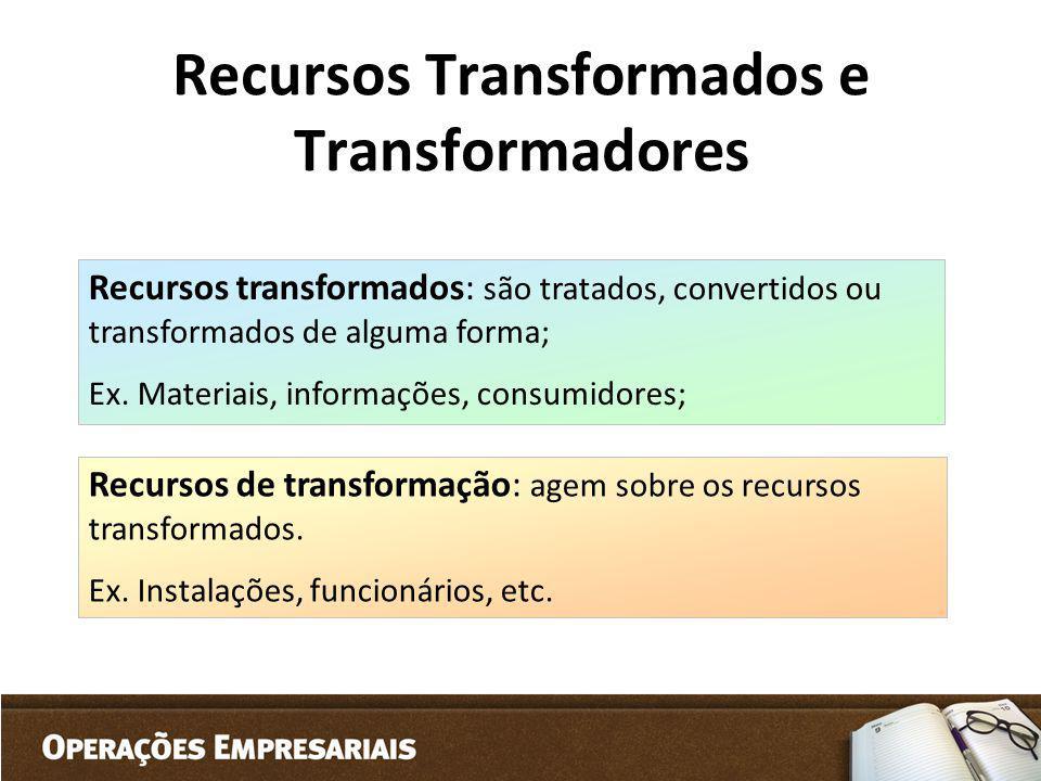 Recursos Transformados e Transformadores Recursos transformados: são tratados, convertidos ou transformados de alguma forma; Ex. Materiais, informaçõe