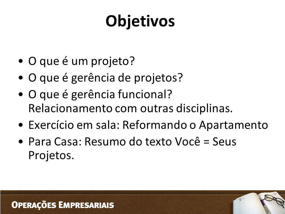 Objetivos O que é um projeto? O que é gerência de projetos? O que é gerência funcional? Relacionamento com outras disciplinas. Exercício em sala: Refo