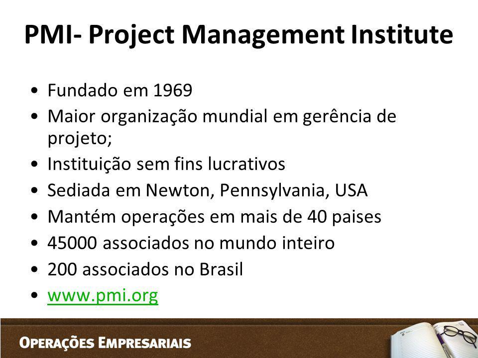 PMI- Project Management Institute Fundado em 1969 Maior organização mundial em gerência de projeto; Instituição sem fins lucrativos Sediada em Newton,