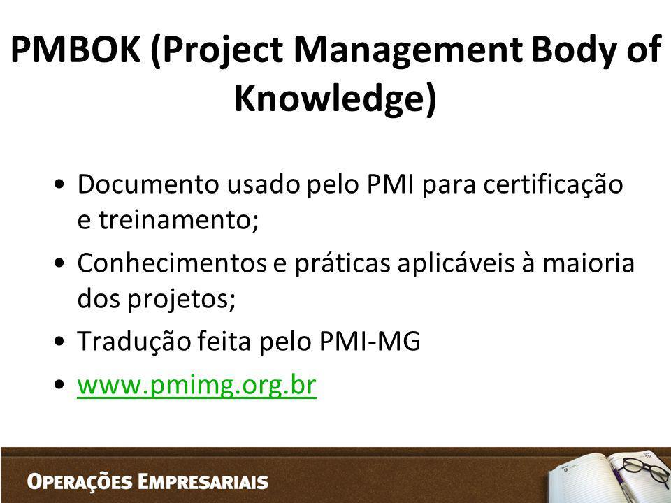 PMBOK (Project Management Body of Knowledge) Documento usado pelo PMI para certificação e treinamento; Conhecimentos e práticas aplicáveis à maioria d