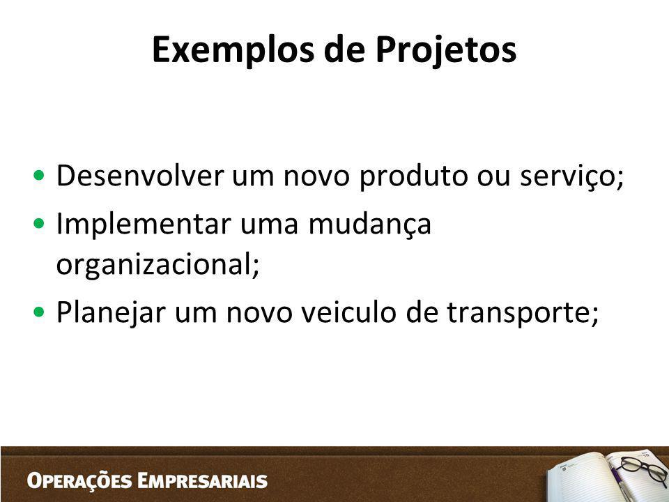 Exemplos de Projetos Desenvolver um novo produto ou serviço; Implementar uma mudança organizacional; Planejar um novo veiculo de transporte;