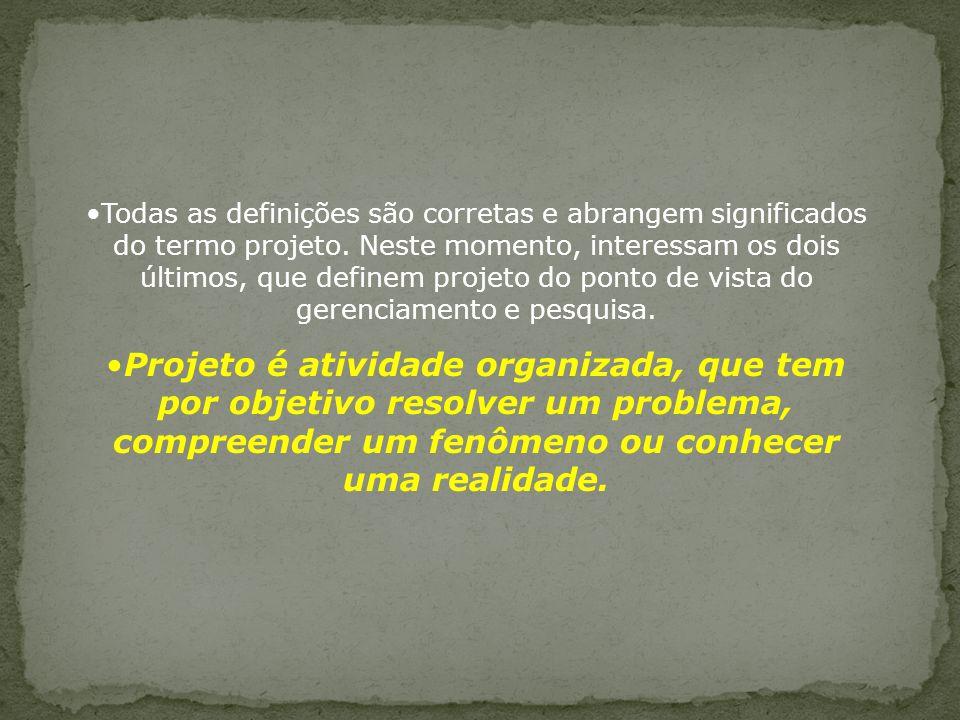 Todas as definições são corretas e abrangem significados do termo projeto.