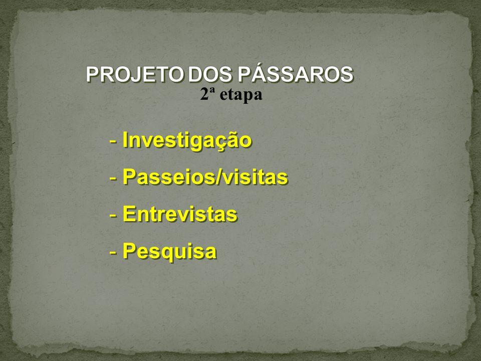 2ª etapa - Investigação - Passeios/visitas - Entrevistas - Pesquisa - Investigação - Passeios/visitas - Entrevistas - Pesquisa