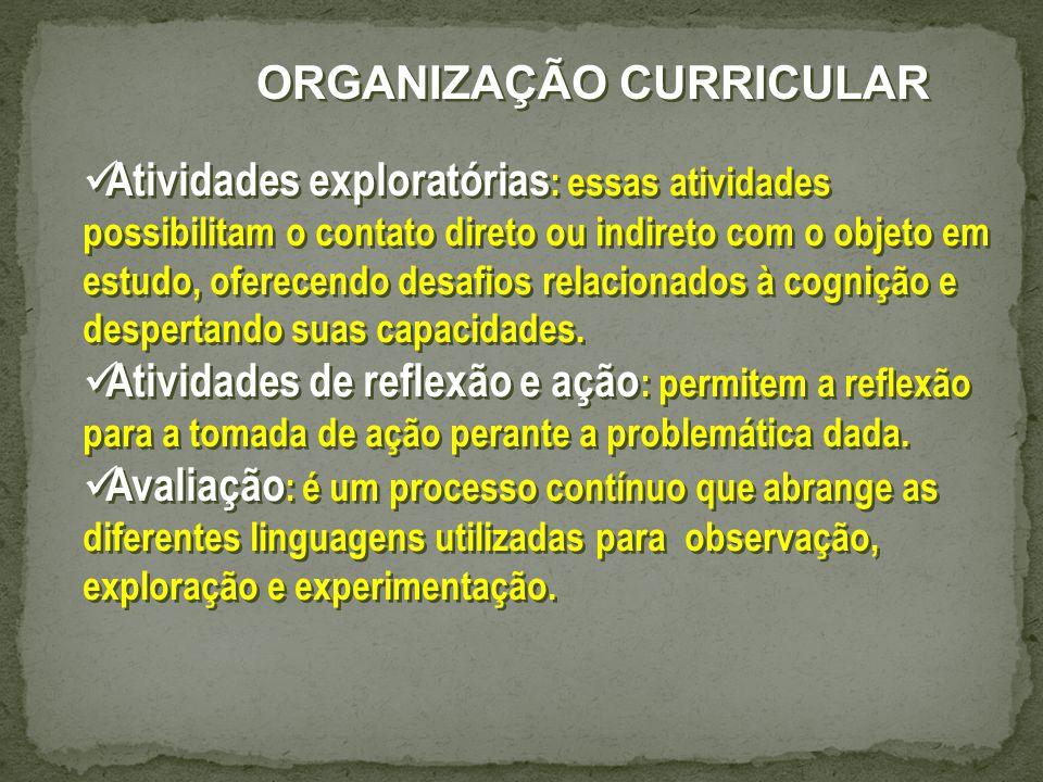 Atividades exploratórias : essas atividades possibilitam o contato direto ou indireto com o objeto em estudo, oferecendo desafios relacionados à cognição e despertando suas capacidades.