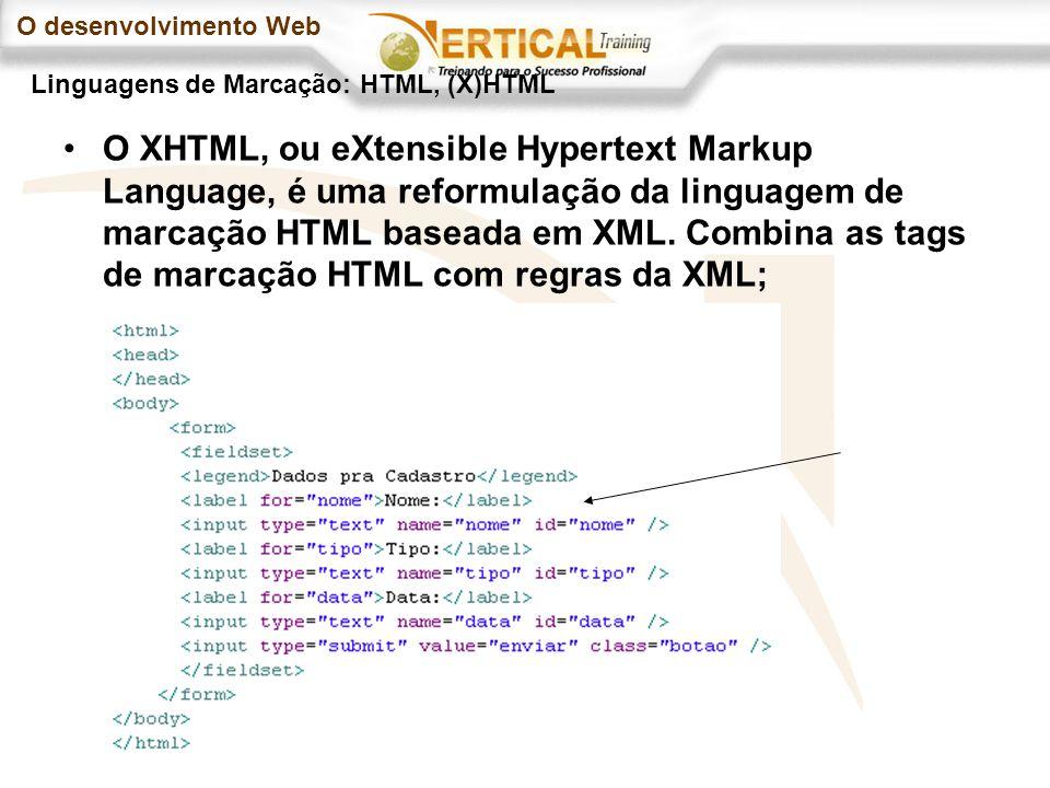 O desenvolvimento Web O XHTML, ou eXtensible Hypertext Markup Language, é uma reformulação da linguagem de marcação HTML baseada em XML.