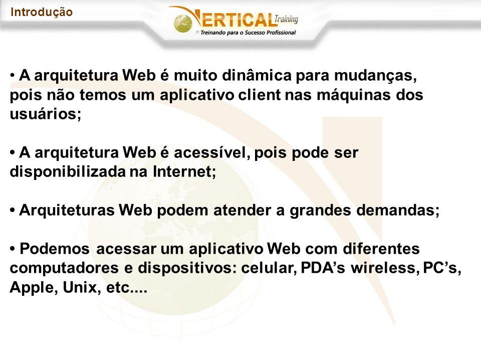 Introdução A arquitetura Web é muito dinâmica para mudanças, pois não temos um aplicativo client nas máquinas dos usuários; A arquitetura Web é acessível, pois pode ser disponibilizada na Internet; Arquiteturas Web podem atender a grandes demandas; Podemos acessar um aplicativo Web com diferentes computadores e dispositivos: celular, PDAs wireless, PCs, Apple, Unix, etc....