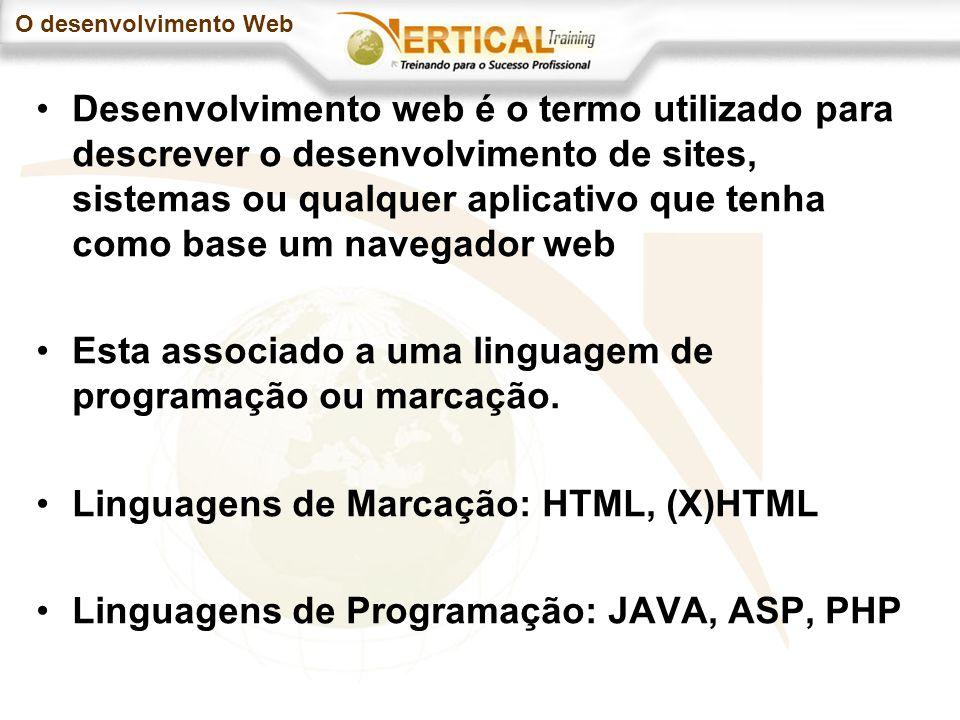 O desenvolvimento Web Desenvolvimento web é o termo utilizado para descrever o desenvolvimento de sites, sistemas ou qualquer aplicativo que tenha como base um navegador web Esta associado a uma linguagem de programação ou marcação.