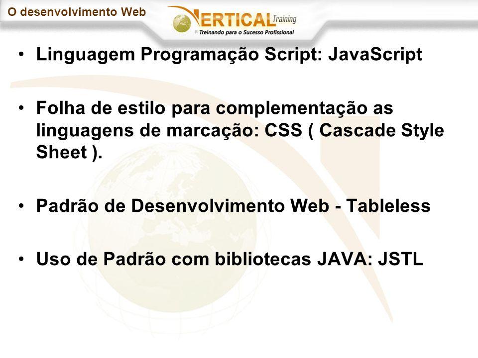 O desenvolvimento Web Linguagem Programação Script: JavaScript Folha de estilo para complementação as linguagens de marcação: CSS ( Cascade Style Sheet ).