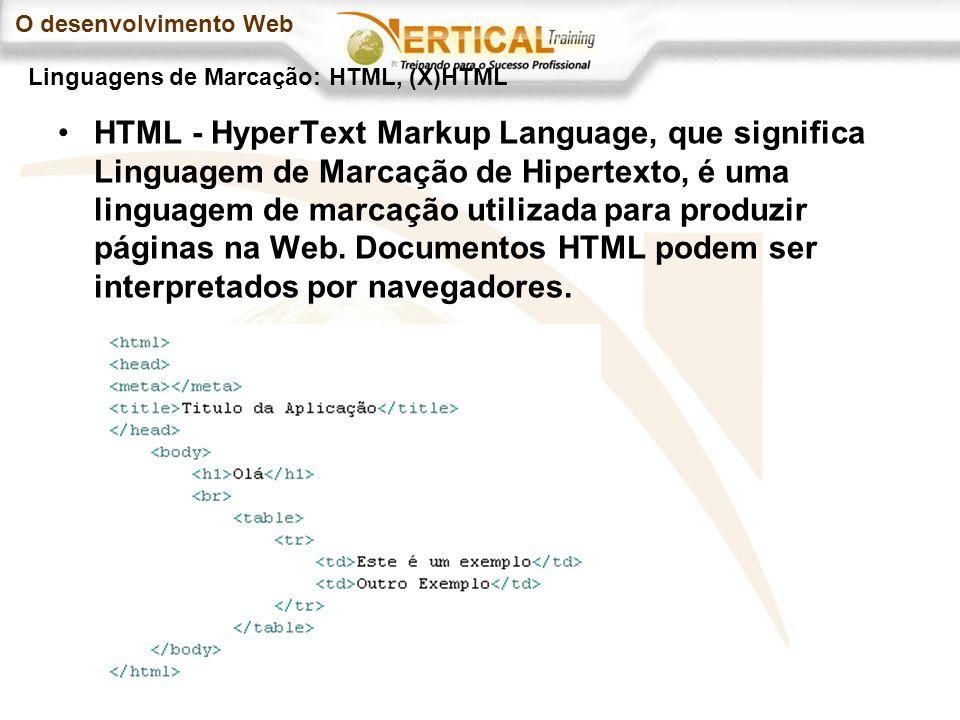 O desenvolvimento Web HTML - HyperText Markup Language, que significa Linguagem de Marcação de Hipertexto, é uma linguagem de marcação utilizada para produzir páginas na Web.