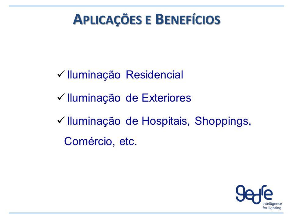 A PLICAÇÕES E B ENEFÍCIOS Iluminação Residencial Iluminação de Exteriores Iluminação de Hospitais, Shoppings, Comércio, etc.