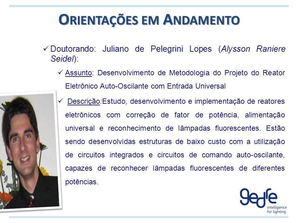 O RIENTAÇÕES EM A NDAMENTO Doutorando: Juliano de Pelegrini Lopes (Alysson Raniere Seidel): Assunto: Desenvolvimento de Metodologia do Projeto do Reat
