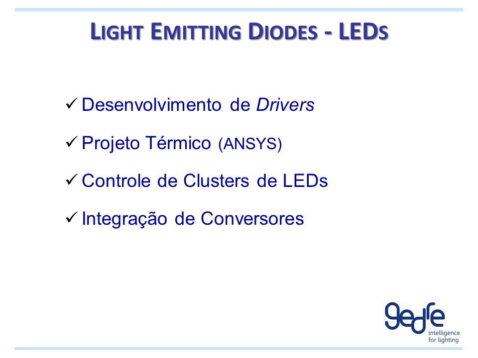 L IGHT E MITTING D IODES - LED S Desenvolvimento de Drivers Projeto Térmico (ANSYS) Controle de Clusters de LEDs Integração de Conversores
