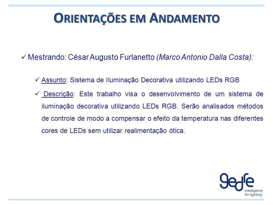 O RIENTAÇÕES EM A NDAMENTO Mestrando: César Augusto Furlanetto (Marco Antonio Dalla Costa): Assunto: Sistema de Iluminação Decorativa utilizando LEDs