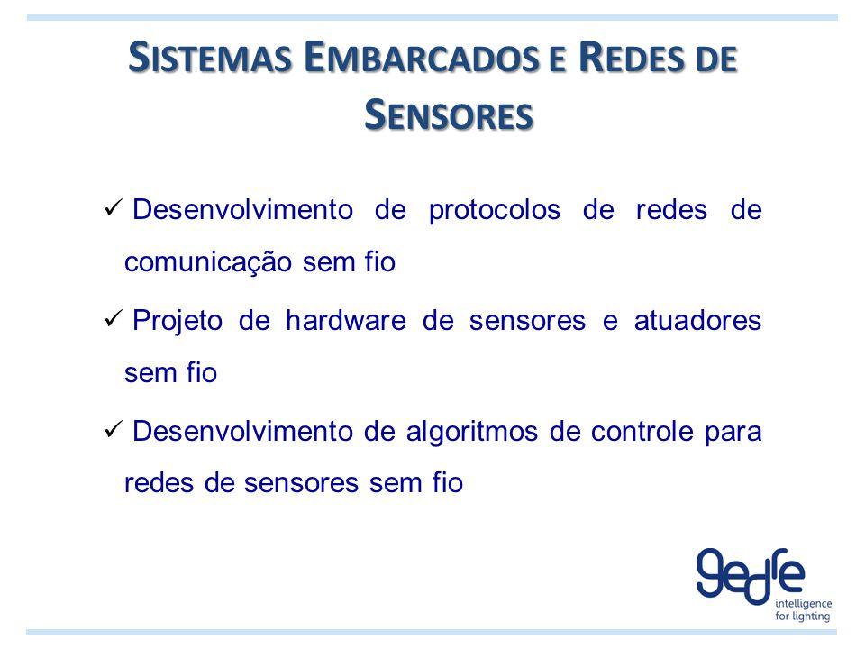Desenvolvimento de protocolos de redes de comunicação sem fio Projeto de hardware de sensores e atuadores sem fio Desenvolvimento de algoritmos de con