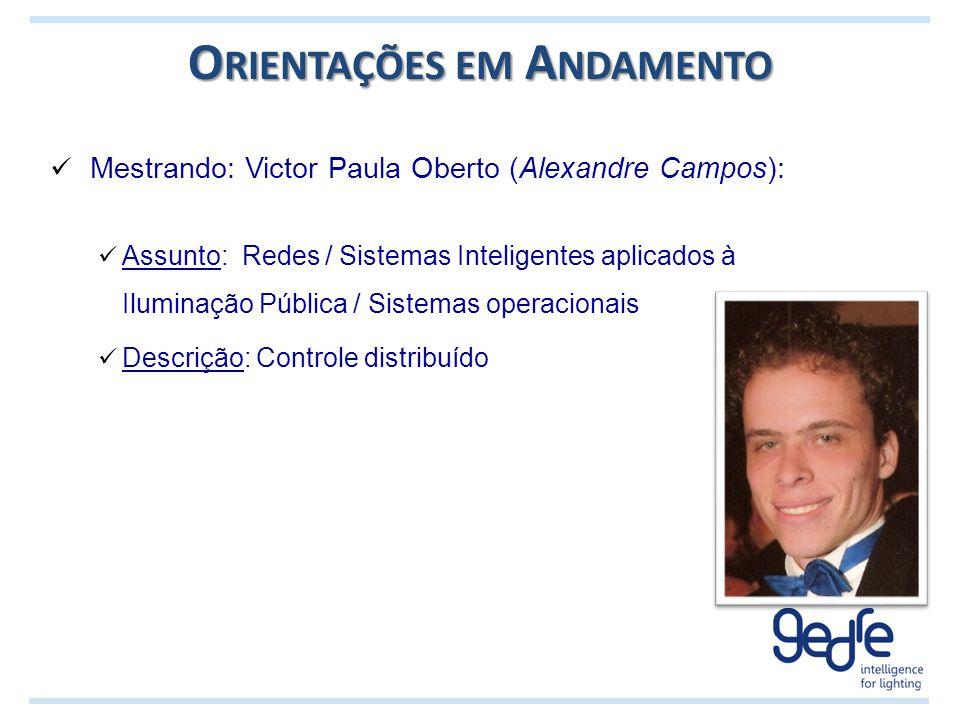 O RIENTAÇÕES EM A NDAMENTO Mestrando: Victor Paula Oberto (Alexandre Campos): Assunto: Redes / Sistemas Inteligentes aplicados à Iluminação Pública /