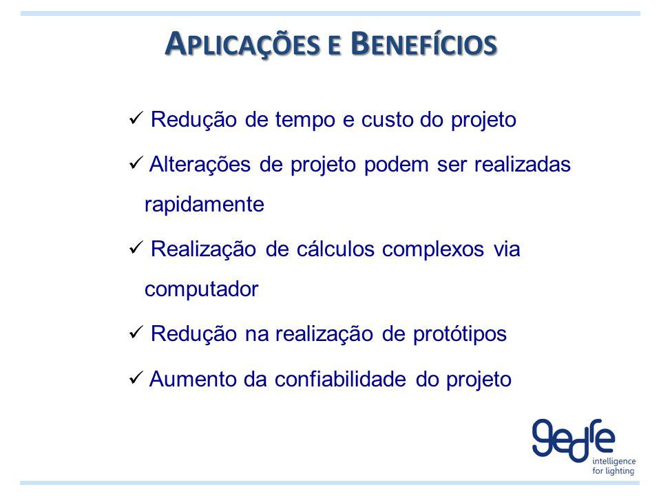 A PLICAÇÕES E B ENEFÍCIOS Redução de tempo e custo do projeto Alterações de projeto podem ser realizadas rapidamente Realização de cálculos complexos