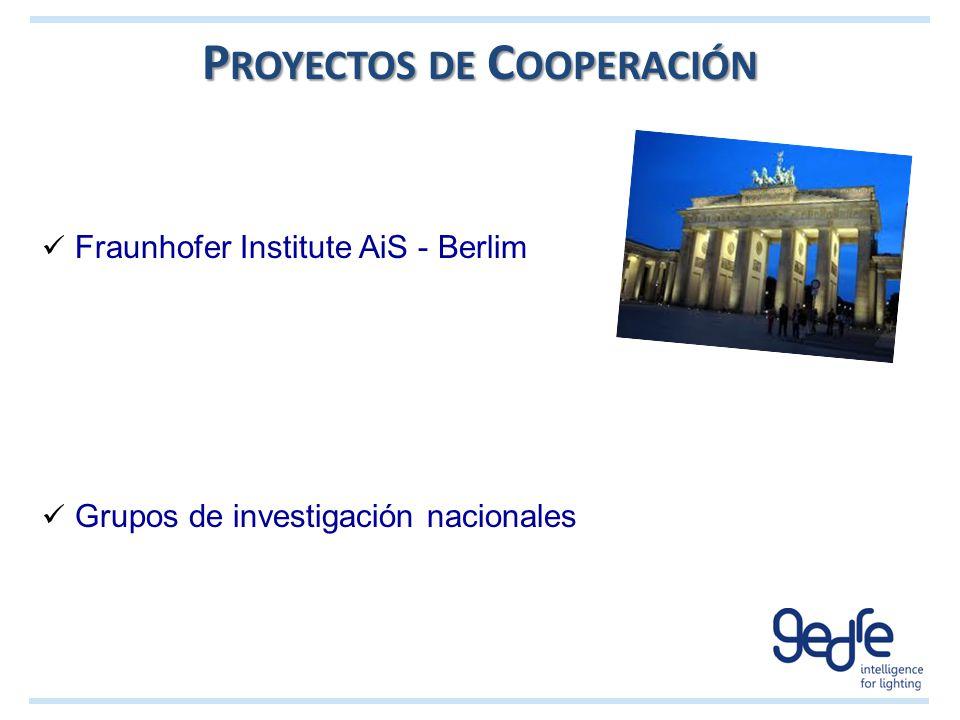 Fraunhofer Institute AiS - Berlim Grupos de investigación nacionales P ROYECTOS DE C OOPERACIÓN