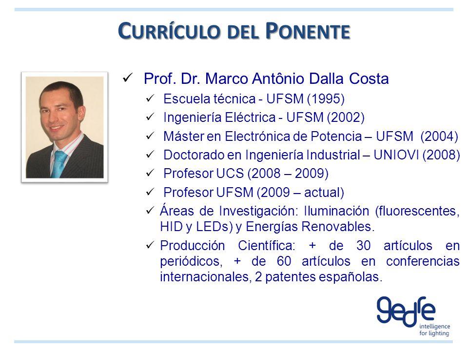 C URRÍCULO DEL P ONENTE Prof. Dr. Marco Antônio Dalla Costa Escuela técnica - UFSM (1995) Ingeniería Eléctrica - UFSM (2002) Máster en Electrónica de