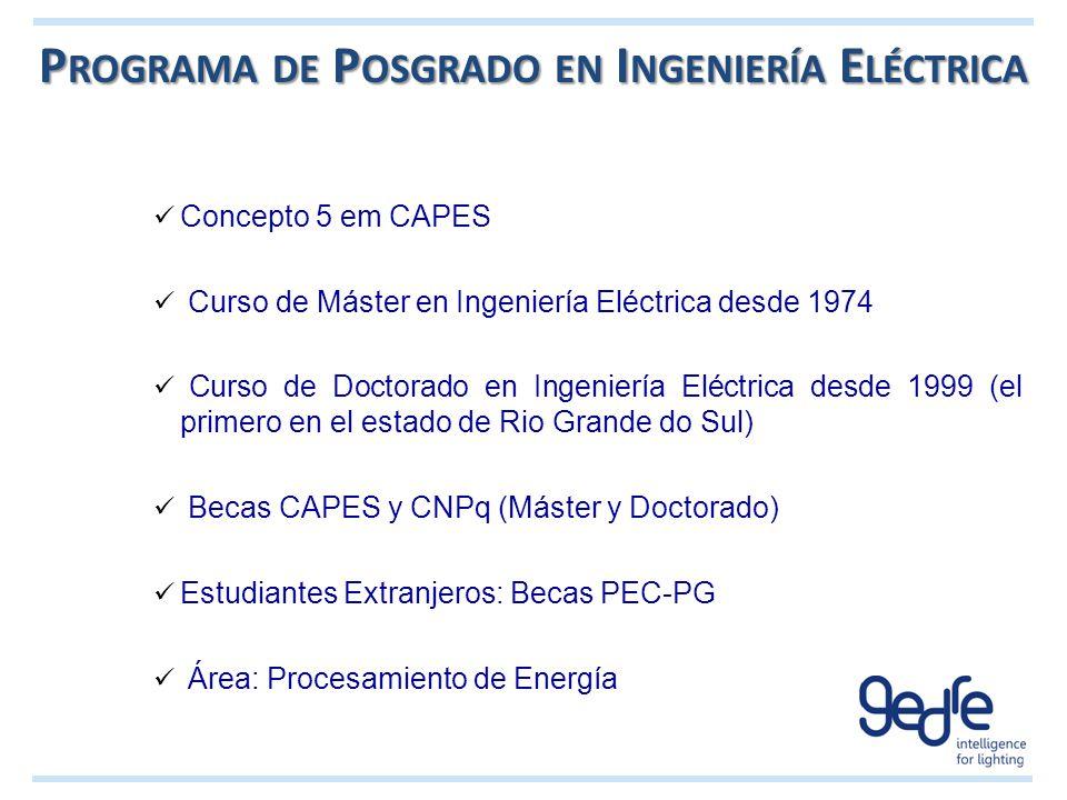 P ROGRAMA DE P OSGRADO EN I NGENIERÍA E LÉCTRICA Concepto 5 em CAPES Curso de Máster en Ingeniería Eléctrica desde 1974 Curso de Doctorado en Ingenier