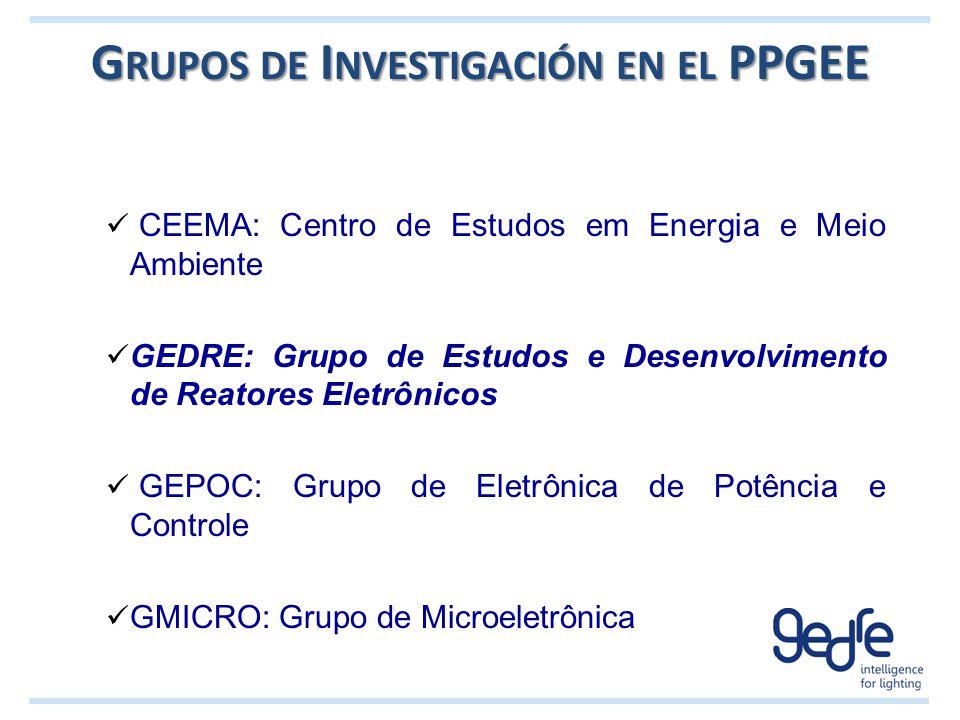 G RUPOS DE I NVESTIGACIÓN EN EL PPGEE CEEMA: Centro de Estudos em Energia e Meio Ambiente GEDRE: Grupo de Estudos e Desenvolvimento de Reatores Eletrô