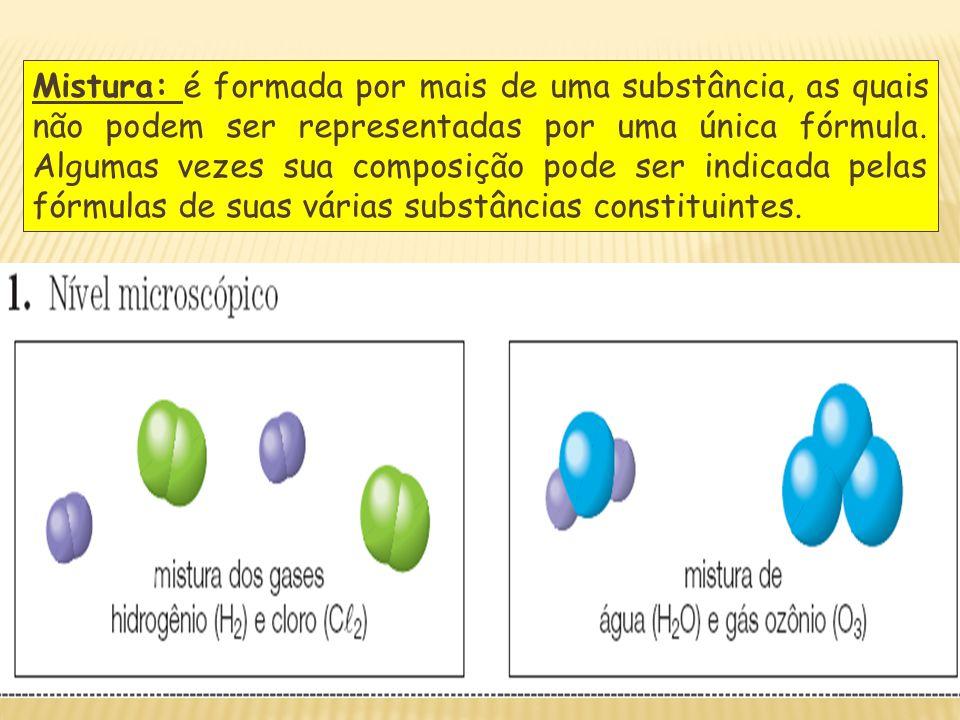 Mistura: é formada por mais de uma substância, as quais não podem ser representadas por uma única fórmula. Algumas vezes sua composição pode ser indic