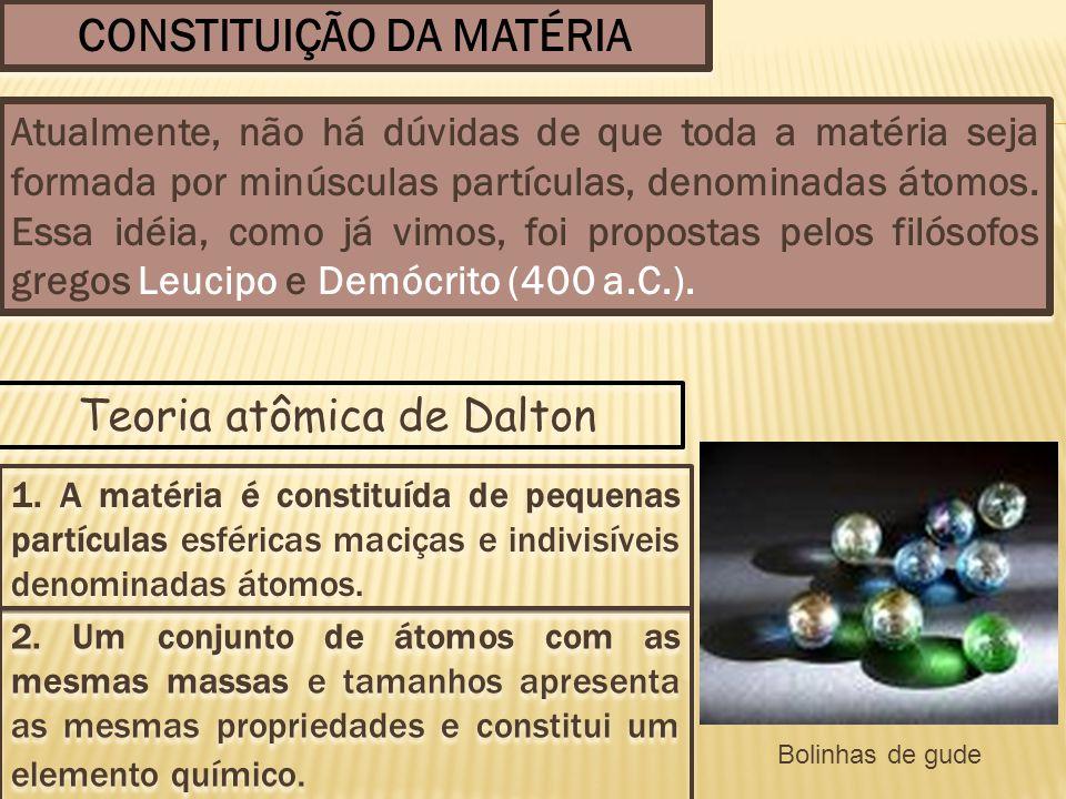 CONSTITUIÇÃO DA MATÉRIA Atualmente, não há dúvidas de que toda a matéria seja formada por minúsculas partículas, denominadas átomos. Essa idéia, como