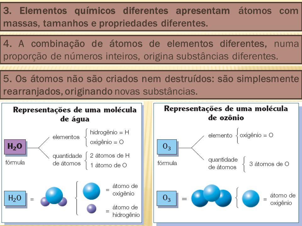 3. Elementos químicos diferentes apresentam átomos com massas, tamanhos e propriedades diferentes. 4. A combinação de átomos de elementos diferentes,