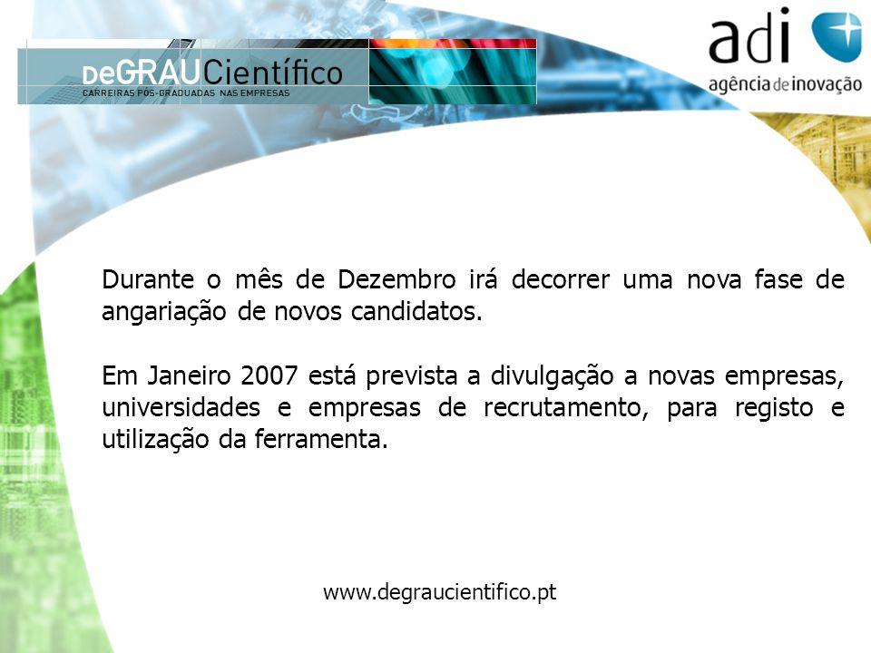 Durante o mês de Dezembro irá decorrer uma nova fase de angariação de novos candidatos. Em Janeiro 2007 está prevista a divulgação a novas empresas, u